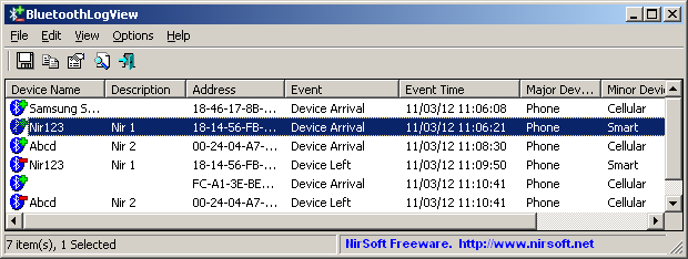Click to view BluetoothLogView 1.07 screenshot
