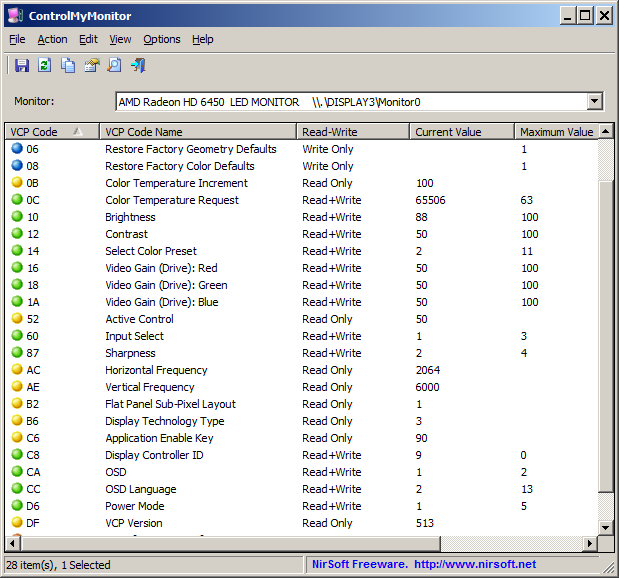 ControlMyMonitor - Ajuste les paramètres d'écran du moniteur - Freeware 21