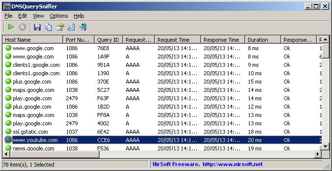 Click to view DNSQuerySniffer 1.65 screenshot