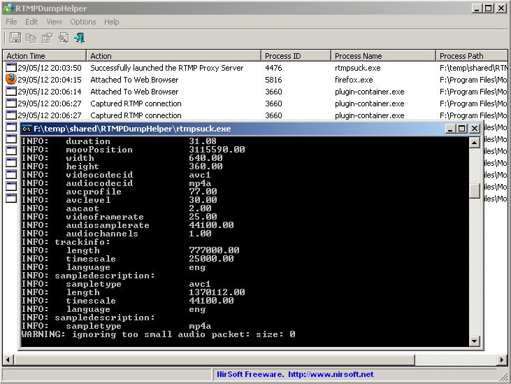 Click to view RTMPDumpHelper 1.22 screenshot
