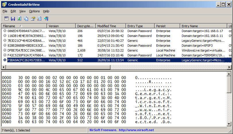 CredentialsFileView - Decrypt the Credentials files of Windows