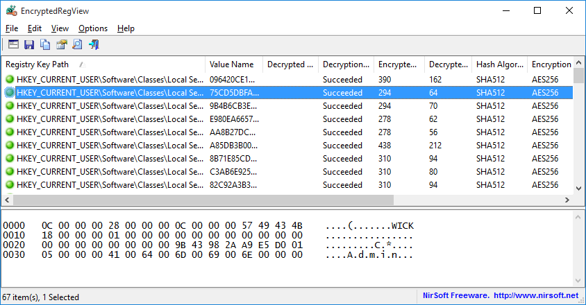 EncryptedRegView - Decrypt DPAPI data stored in Windows Registry