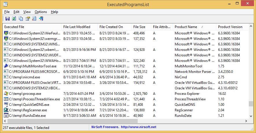 ExecutedProgramsList - Shows programs previously executed on