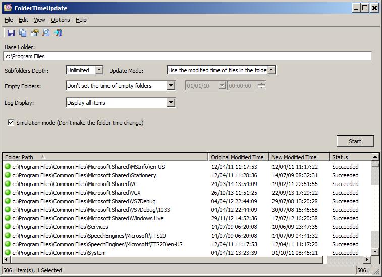 FolderTimeUpdate - Set the Modified Time of folders according the