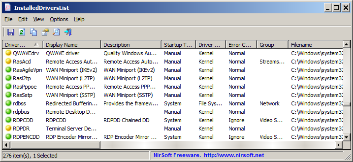 View the installed drivers list on Windows operating system