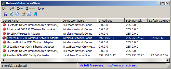 NetworkInterfacesView - show network adapters/interfaces information