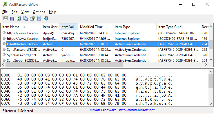 VaultPasswordView - Decrypt Windows Vault Passwords