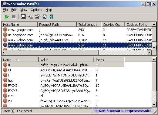WebCookiesSniffer - Capture Web site cookies