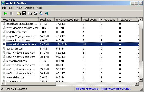 WebSiteSniffer 64-bit screenshot