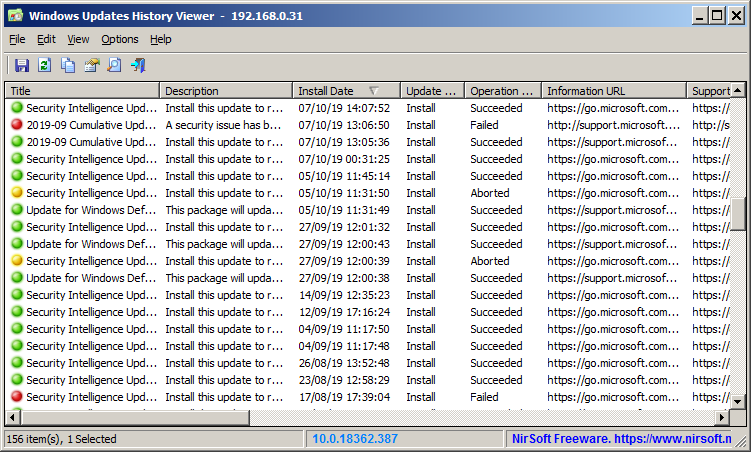 Windows Updates History Viewer Screenshot