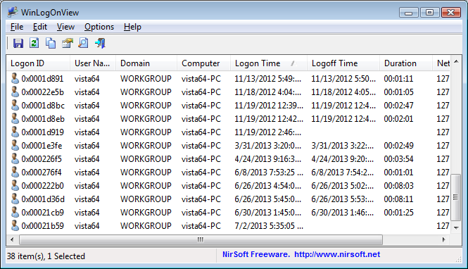 WinLogOnView - Displays logon/logoff times on Windows Vista/7/8/2008